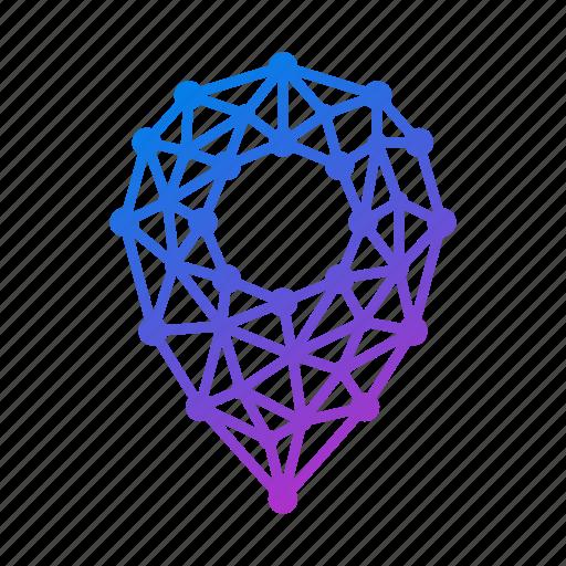 geometric, gps, location, location pin, map, navigation, pin, polygonal icon