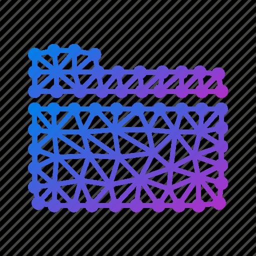 archive, closed folder, directory, docs, documents, file, files, folder, geometric, polygonal icon