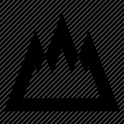 adventure, alpine, creative, design, geometric, graphic, hill, mountains, nature, outdoor, peaks, shape, summit icon