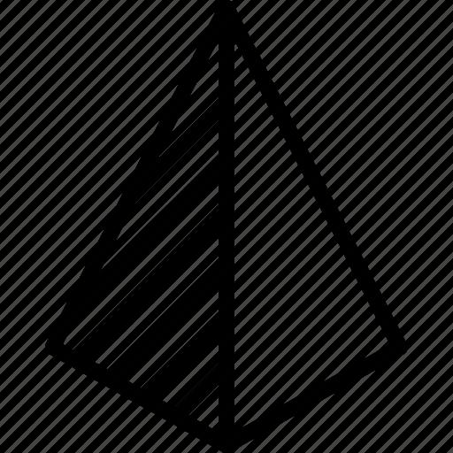 drawing, form, geometry, pyramid, shape, side icon