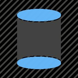 circular, cylinder, dimensional, three icon