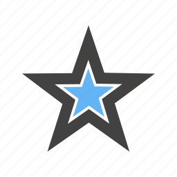corners, five, shape, star, with icon