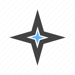 corners, four, shape, star, with icon