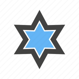 corners, shape, six, star, with icon