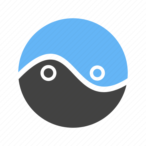 circle, parts, two, with icon