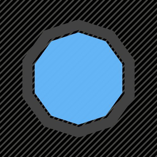 circle, close, corners, decagon, ten, to icon
