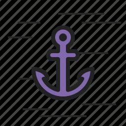 anchor, boat, cruise, drop, sail, ship, water icon