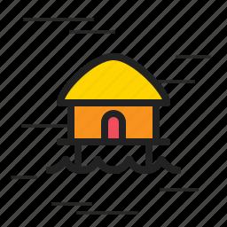 beach, building, house, hut, sun icon