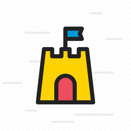 beach, building, castle, fortress, sand, summer icon