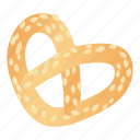 bread, cartoon, food, pretzels, salt, salty, snack icon