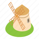 agriculture, building, cartoon, farm, mill, wind, windmill icon