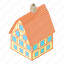 big, cartoon, construction, estate, home, house, residential icon