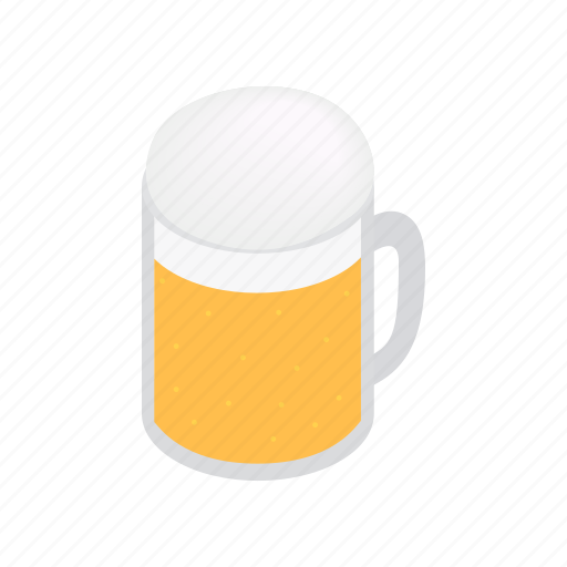alcohol, beer, beverage, drink, isometric, lager, mug icon