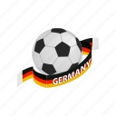 ball, flag, football, germany, isometric, soccer, sport icon