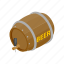 alcohol, barrel, beer, isometric, old, wood, wooden icon