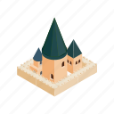 building, church, historical, isometric, landmark, old, roman icon