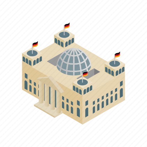 berlin, building, europe, germany, isometric, parliament, reichstag icon
