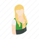 dress, festival, german, green, isometric, oktoberfest, woman icon