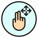 creen, finger, gesture, mobile, move icon