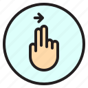 creen, finger, gesture, mobile, right icon