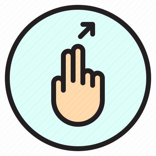 creen, finger, gesture, mobile, right, slant, up icon