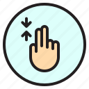 creen, finger, gesture, mobile, scroll icon