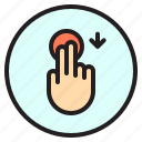 creen, down, finger, gesture, mobile, touch icon