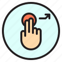 creen, mobile, right, touch, up icon