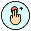 creen, finger, gesture, mobile, touch, up icon