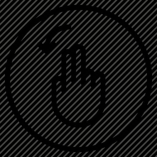 finger, gesture, left, mobile, mobilescreen, rotate, screen icon
