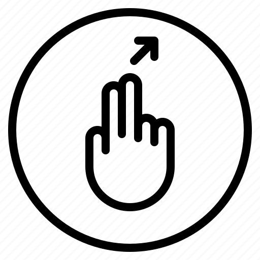 finger, gesture, mobile, right, screen, slant, up icon