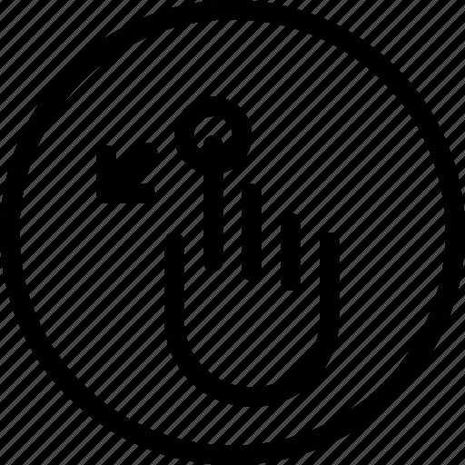 down, mobile, screen, slant, touch icon
