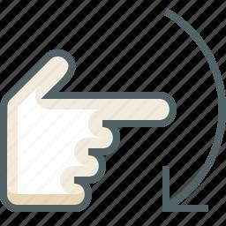 down, finger, flick, gestureworks, one icon