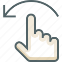 finger, flick, gestureworks, left, one icon