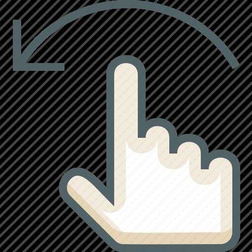 finger, flick, gestureworks, left, one icon