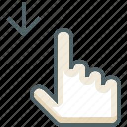 down, finger, gestureworks, one, swipe icon