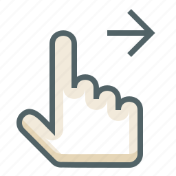finger, gestureworks, one, right, swipe icon