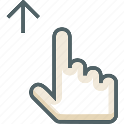 finger, gestureworks, one, swipe, up icon