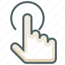 finger, gestureworks, hold, one, tap icon