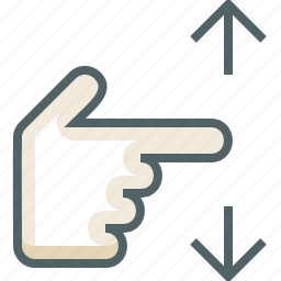 finger, gestureworks, one, swipe, vertical icon