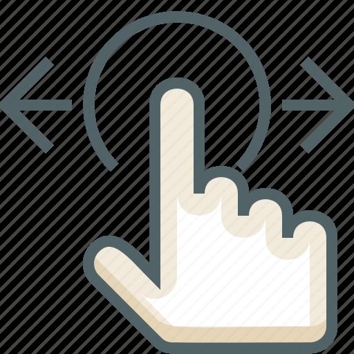 gestureworks, horizontal, swipe, tap icon