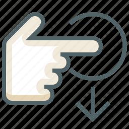 down, gestureworks, swipe, tap icon