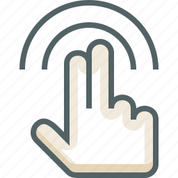 double, finger, gestureworks, tap, two icon