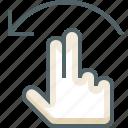 finger, flick, gestureworks, left, two icon