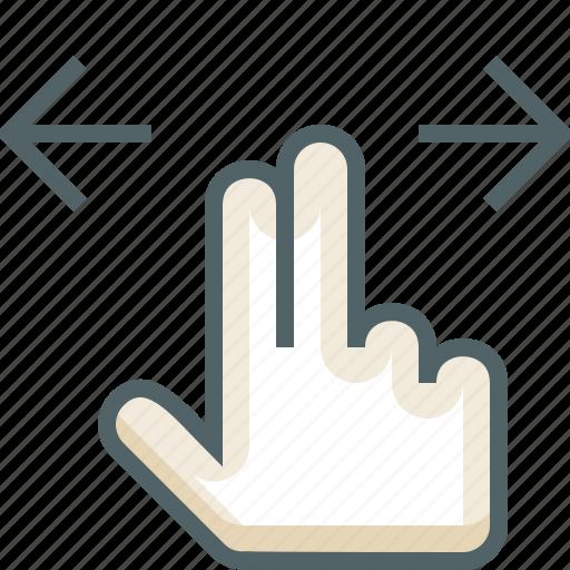 finger, gestureworks, horizontal, swipe, two icon