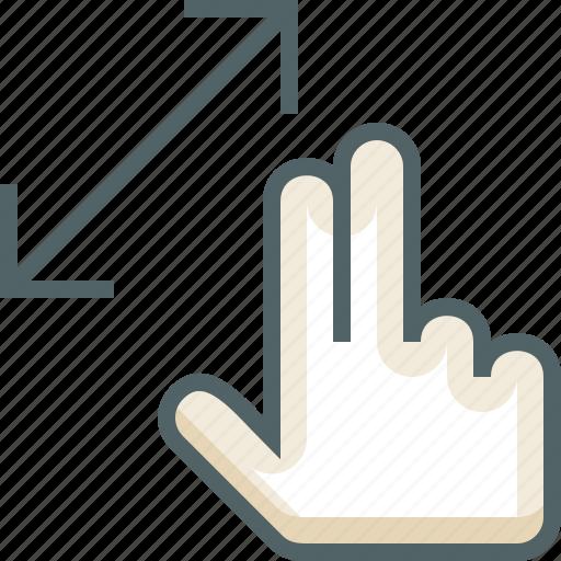 finger, gestureworks, slide, two icon