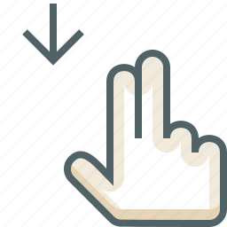 down, finger, gestureworks, swipe, two icon
