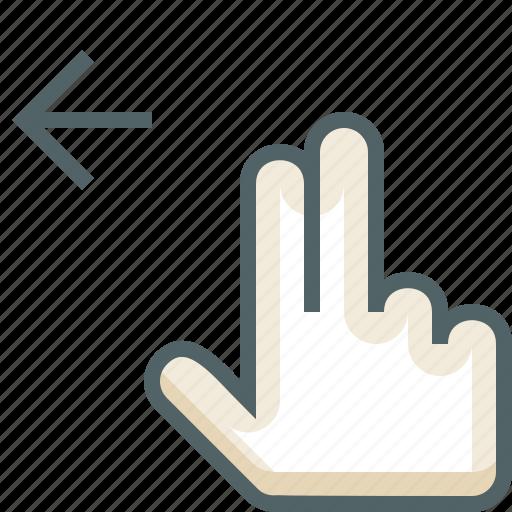 finger, gestureworks, left, swipe, two icon