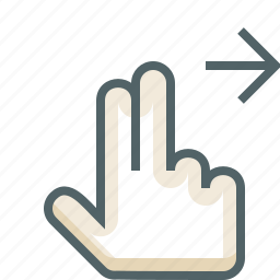 finger, gestureworks, right, swipe, two icon