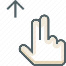 finger, gestureworks, swipe, two, up icon